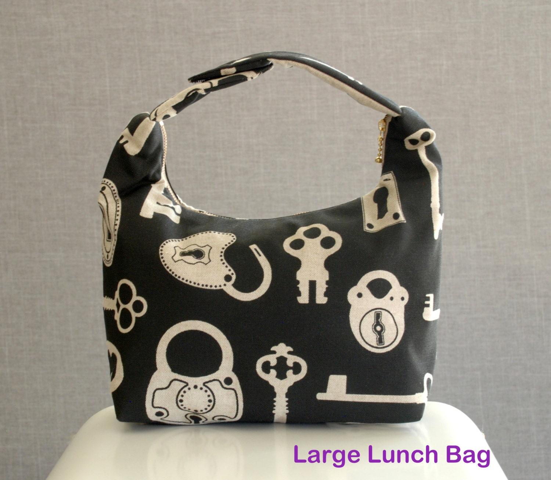 large lunch bag insulated women lunch bag women by lelastudio. Black Bedroom Furniture Sets. Home Design Ideas