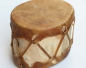 Tribal LOG DRUM Native American Indian Traditional Primitive Hollowed Aspen Log Double Ended Natural Stretched Raw Hide Drum