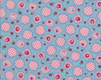 Retro 30's Child Smile - Blue Fabric - Rose Fabric - Lecien Fabric - 31042 77