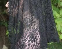 Black Lace Chapel Veil/ Shoulder Length Mantilla/ Half Circle Church Veil / Ladies Head Covering / The Eugenia Veil.
