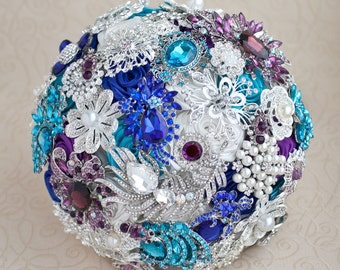 Brooch bouquet, Wedding Bouquet, Purple Bouquet, Teal Bouquet, White silver bouquet, Jewelry Bouquet, Bridal Bouquet, Alternative Bouquet