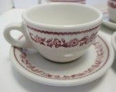 Buffalo China Kenmore Pattern Retro Diner Restaurant Ware Red on White - Set of 4 Cups and Saucers