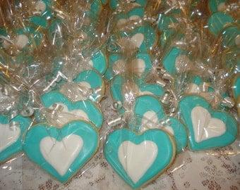 Romantic, Love, Heart Wedding, Bridal Shower Decorated Sugar Cookies - 1 Dozen