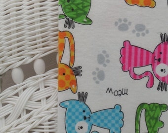 Cute Kitty, Cotton Flannel Baby Blanket, Baby Blanket, Receiving, Swaddling, Gift Idea, Baby Gift, Baby, Baby Shower, Gift, Bright, Spring