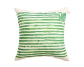 Green striped cushion cover