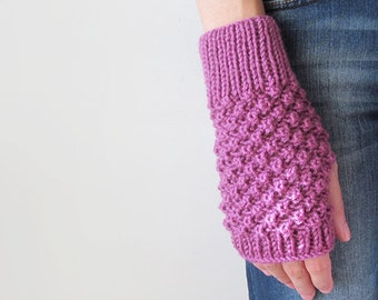 Hand Knit Fingerless Gloves in Dark Lilac - Trinity Stitch Arm Warmers - Seamless - Winter Fashion - Made to Order