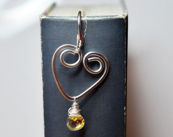 Valentine Heart Metal Bookmark With Swarovski Bead