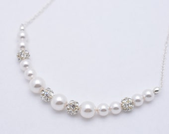 Set of 3 Pearl Bridesmaid Necklaces, 3 Bridesmaid Necklaces, Pearl and Rhinestone Necklaces, Pearl and Crystal Necklaces, Pearl Strand 0232