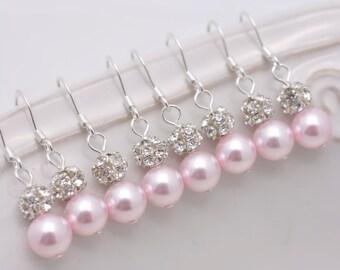 5 Pairs Pink Pearl Bridesmaid Earrings, Light Pink Pearl and Rhinestone, Pink Earrings, Sterling Silver Earrings 0115