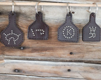 Leather Ear Tag Key Ring