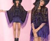 Sheer Fringe Silk Burnout Velvet Purple Hippie Boho Gypsy Festival Cape Poncho