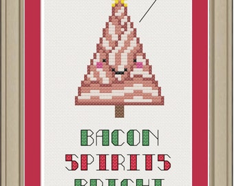 Bacon spirits bright: funny Christmas holiday cross-stitch pattern