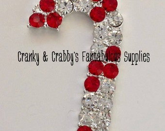 Candy Cane Pendant -  49mm x 27mm - Silver  - Christmas, Red and Crystal