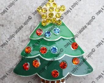 Decorated Christmas Tree Rhinestone Pendant -  49mm x 43mm - Green  - Christmas, Xmas, Tree