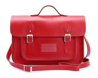 Large Wooster British Handmade Leather Satchel with Top Handle - Red