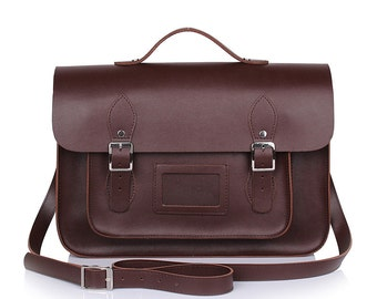 Large Wooster British Handmade Leather Satchel with Top Handle -  Chocolate