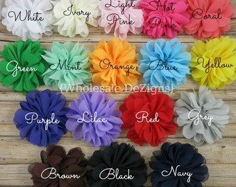 """Scalloped Ballerina Twirl flowers - 2.5"""" Chiffon Flowers - 2.5 inches - You Choose Colors and Quantity"""