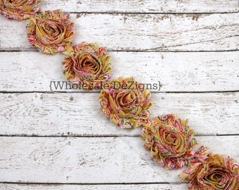Floral Shabby Chic Chiffon Flowers - Yellow, Pink, Green 1 Yard Trim -  Wholesale Vintage Rosettes