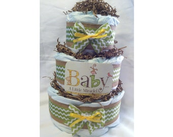 """Diaper Cake - Baby Girl or Boy - """"Baby ... A Little Miracle"""" - Monkey, Bear, Turtle, Bird - Three Tier Cake - Wow Your Friends - Chevron"""