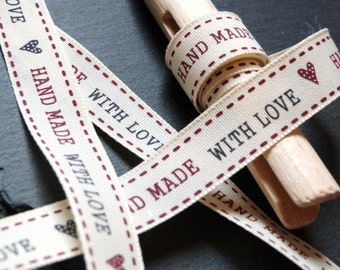 Handmade With Love Pattern Ribbon 15mm Wide Per Metre --1--