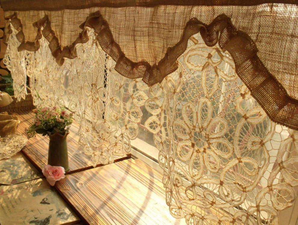 Custom Gorgeous Custom Antique Lace Ruffled Valance Burlap