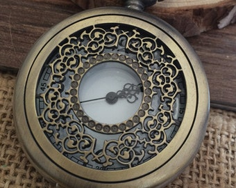 1pcs 45mmx45mm Bronze Flower pocket watch charms pendant PW060