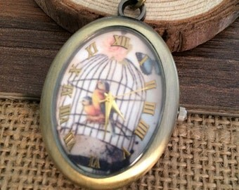 1pcs 32MMx42MM Bird series Oval Pocket Watch Charms Pendant
