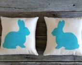 Robin Egg Blue Burlap Rabbit Pillow,Pink Burlap,Lavender Burlap,Yellow Burlap,Muslin Pillow,Easter Pillow,SpringPillow,Nursery Pillow,