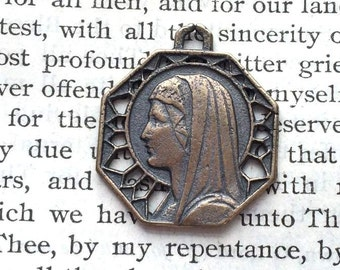 Mary Medal - Catholic Medal - Bronze or Sterling Silver - Religious Medal - Vintage Medal Replica (M30-449)