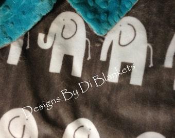 Minky Elephant Blanket ,Zoo Animal Blanket, Adult Minky Blanket, Animal Print Blanket,Dorm Room Blanket, Couch Throw size 50 x 60 in