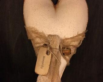 Primitive Antique White Heart Ornie