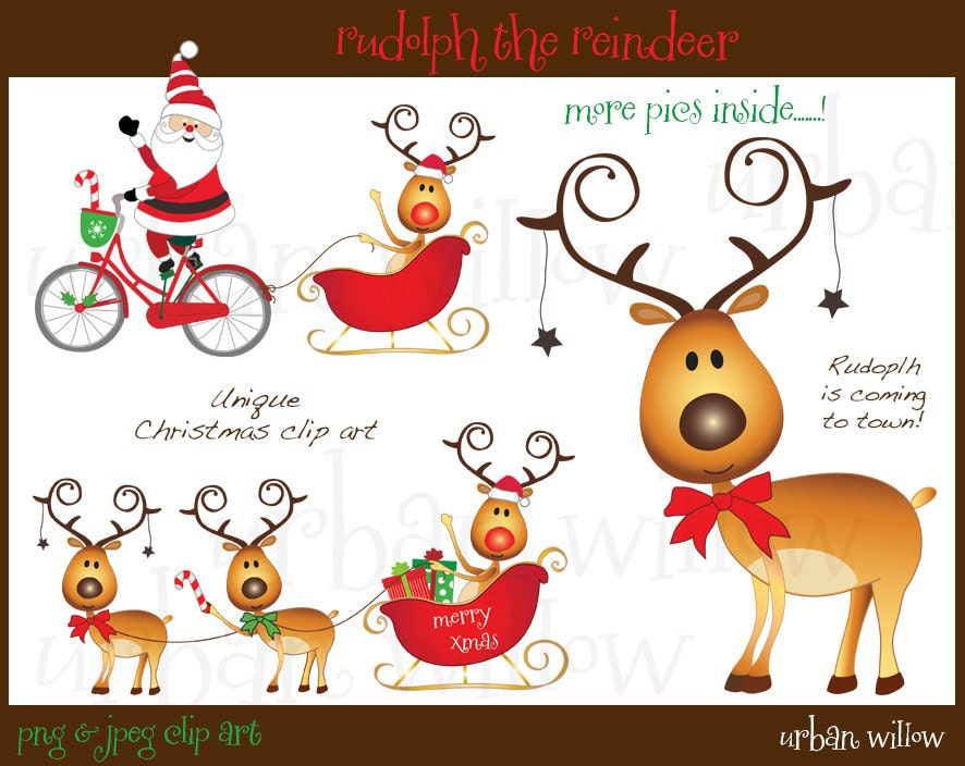 RUDOLPH THE REINDEER Clipart Cute Reindeer Clipart Whimsical