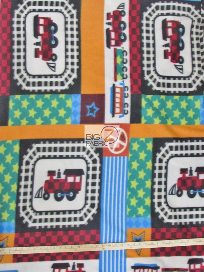 Railroad train fleece printed fabric 60 width sold by for Train print fabric