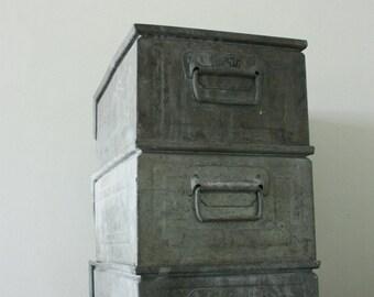 Stackable Industrial Archive Cabinet / Zinc bin - Industrial bin - Industrial basket - Vintage bin - Zinc basket - Industrial box organizer
