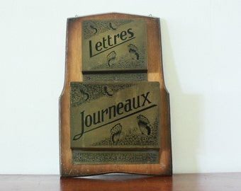 Vintage French Letter Holder / Newspaper holder - Vintage Decor - Home Decor - French decor