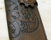 Cow leather wallet style biker with octopus steampunk