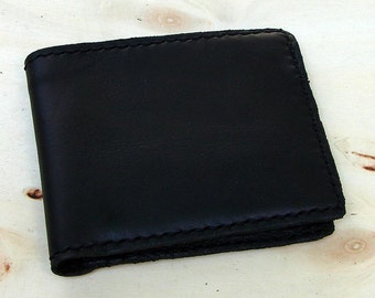 Simple black bifold wallet handcrafted