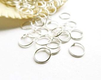 100 Silver Plated Jump Rings 8mm, Open Loop - 7-5