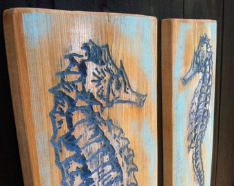 Two Large SEAHORSES Carved in Two Pieces of Florida Cypress