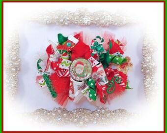 OTT Christmas Funky Loopy Hair Bow, Holiday Hair Bow, Christmas, Hair Bow