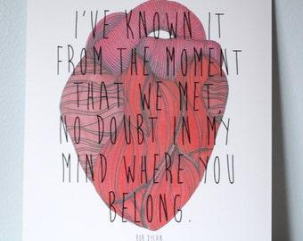 Bob Dylan, Make You Feel My Love Lyric Print