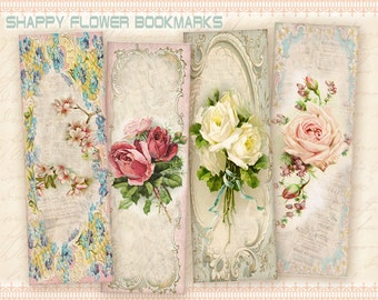 Vintage flower bookmarks Printable digital collage sheet Vintage images