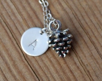Sterling silver pinecone necklace, initial necklace, baby pinecone necklace, silver pinecone and initial necklace, gift