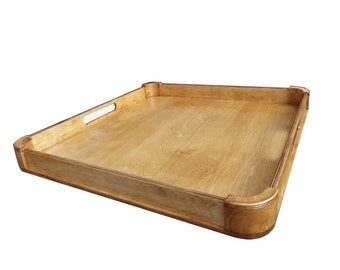 Large ottoman tray, wood serving tray, modern rustic home decor, choose your color