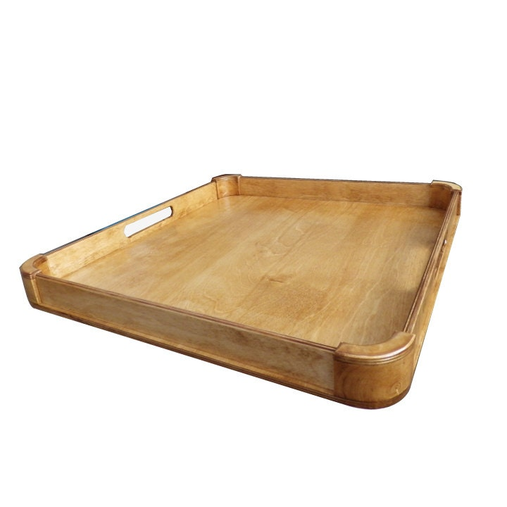 Large ottoman tray wood serving modern rustic home