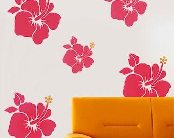 Hibiscus Flower Stencil wall art craft home decor, reusable mylar - Ideal Stencils Ltd