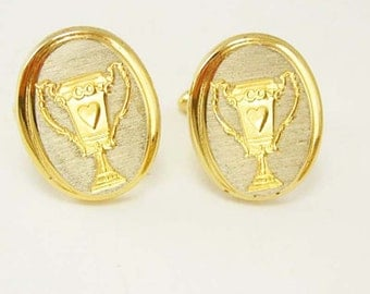 Vintage Wedding Cuff links Loving Cup Trophy Cufflinks Hearts Oval Two Tone Wedding Business award jockey gambling gift
