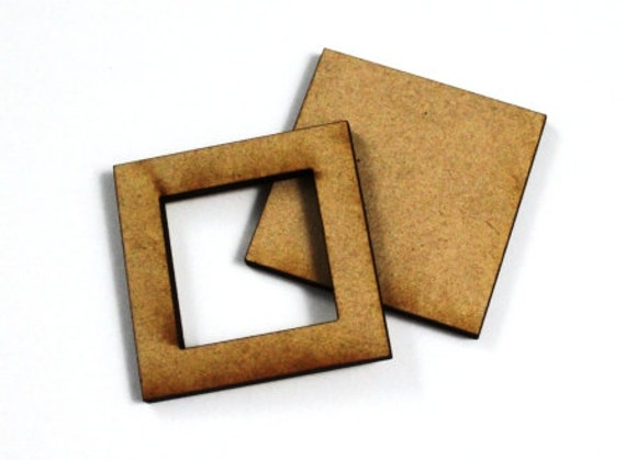 1 Large Craft Wood Bezel Square Frames, 250 mm Wide, lasercut wood