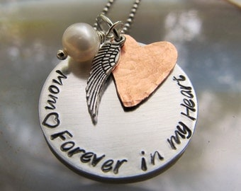 Personalized Memorial Necklace Mother Necklace Hand Stamped Necklace Wing Necklace