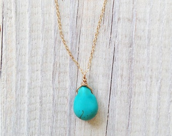 Bridesmaid necklace, bridesmaid gift, gold turquoise necklace, gift for her, christmas gift